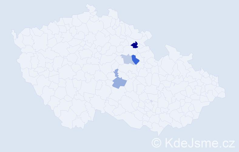 Příjmení: 'Čertner', počet výskytů 5 v celé ČR