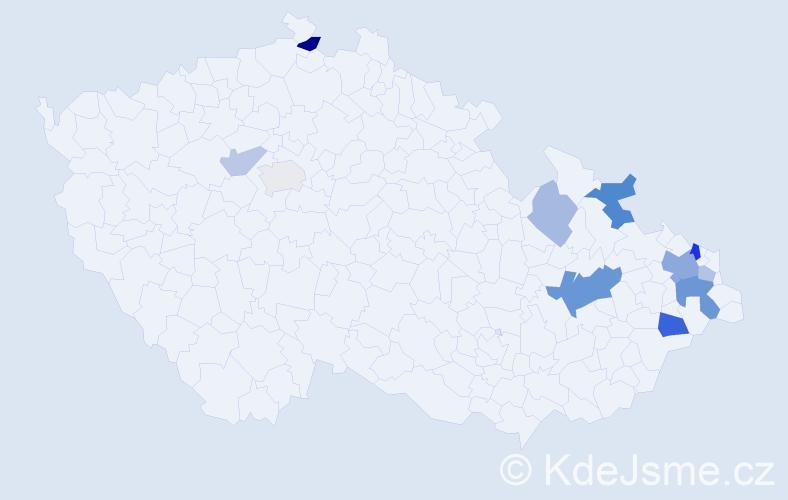 Příjmení: 'Kováček', počet výskytů 23 v celé ČR