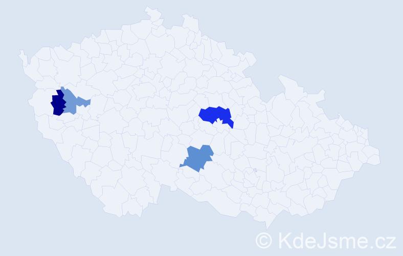 Příjmení: 'Decsiová', počet výskytů 7 v celé ČR