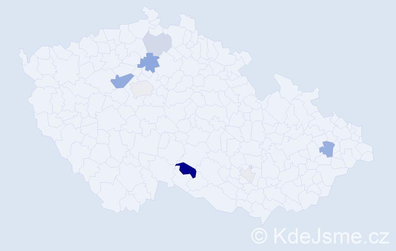 Příjmení: 'Jacobs', počet výskytů 15 v celé ČR