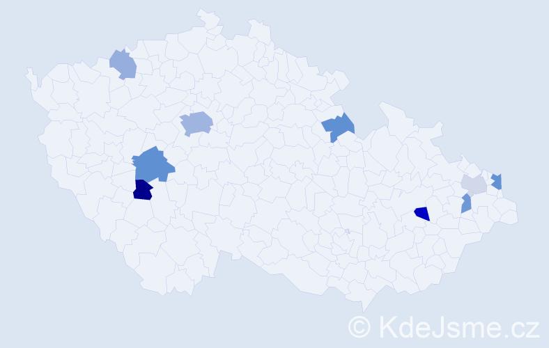 Příjmení: 'Ambruš', počet výskytů 18 v celé ČR