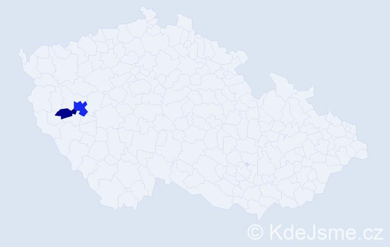 Příjmení: 'Gërbani', počet výskytů 5 v celé ČR