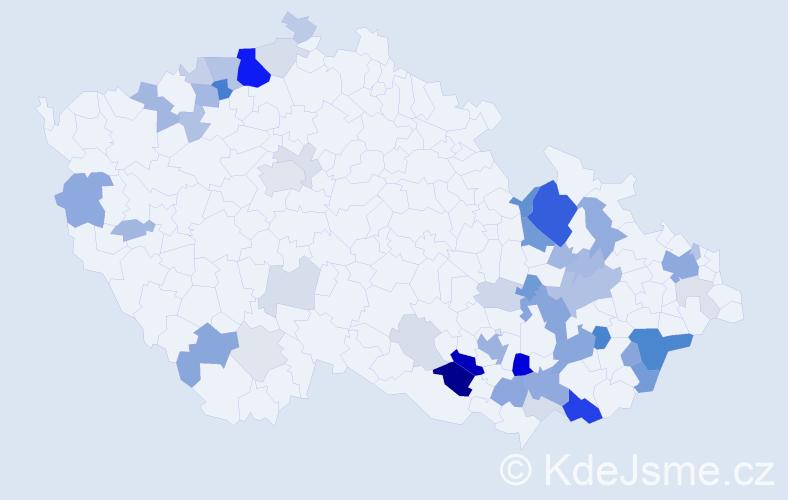 Příjmení: 'Hamala', počet výskytů 152 v celé ČR