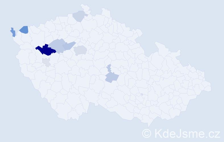 Příjmení: 'Klečánková', počet výskytů 18 v celé ČR