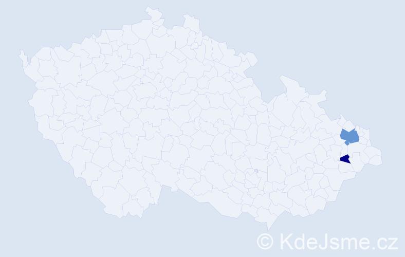 Příjmení: 'Čenčíková', počet výskytů 5 v celé ČR