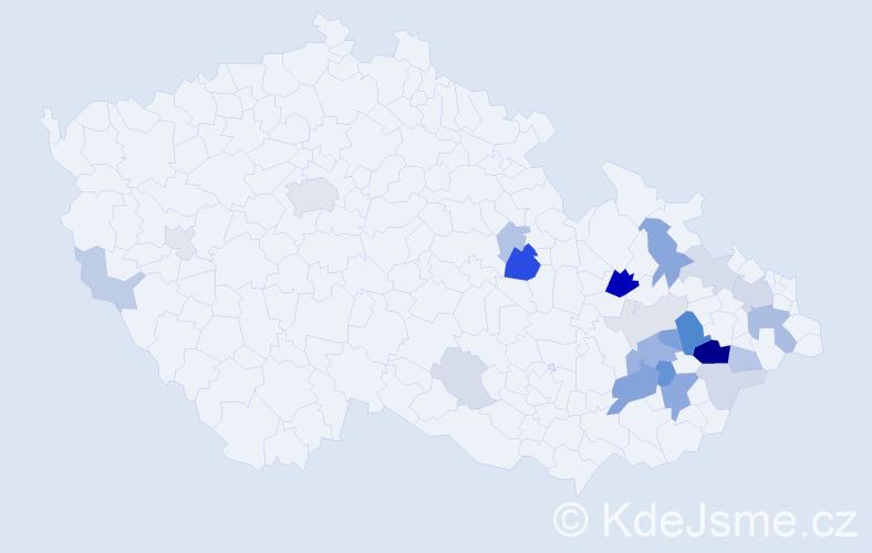 Příjmení: 'Čepicová', počet výskytů 58 v celé ČR