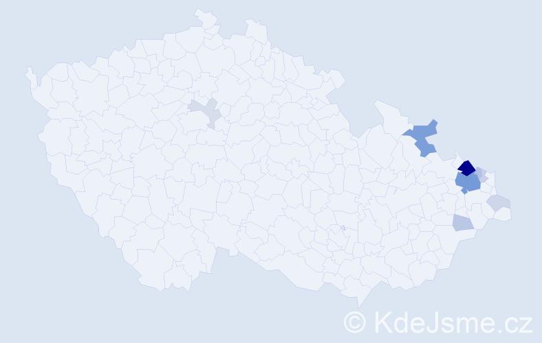 Příjmení: 'Chorovský', počet výskytů 34 v celé ČR