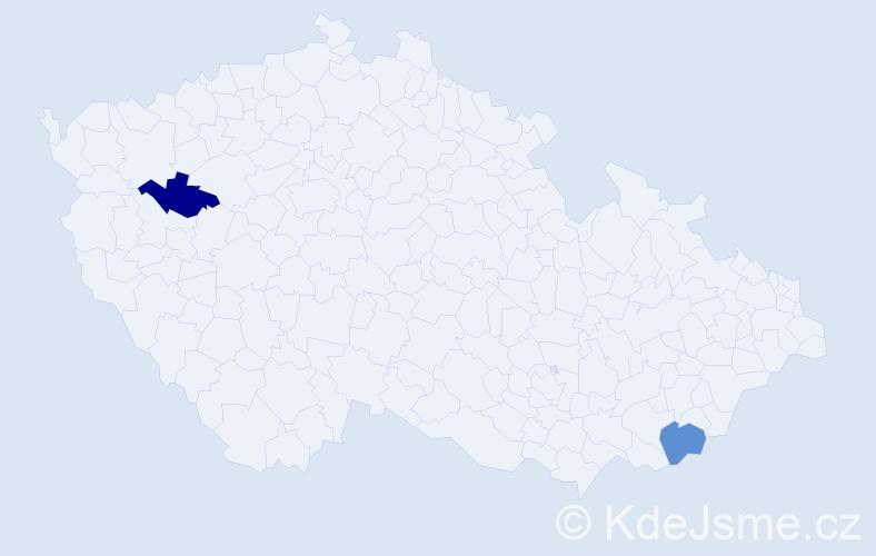 Příjmení: 'Hadbavný', počet výskytů 2 v celé ČR