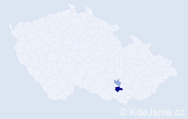 Příjmení: 'Čerlík', počet výskytů 5 v celé ČR