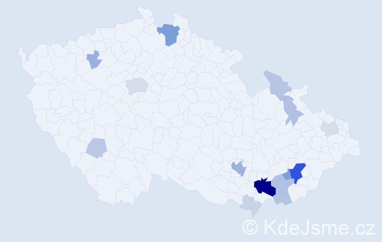 Příjmení: 'Gistr', počet výskytů 54 v celé ČR
