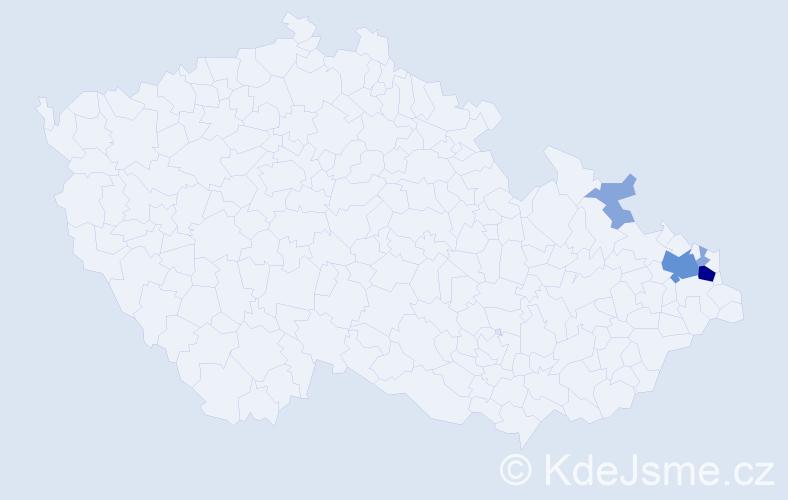Příjmení: 'Kondasová', počet výskytů 18 v celé ČR