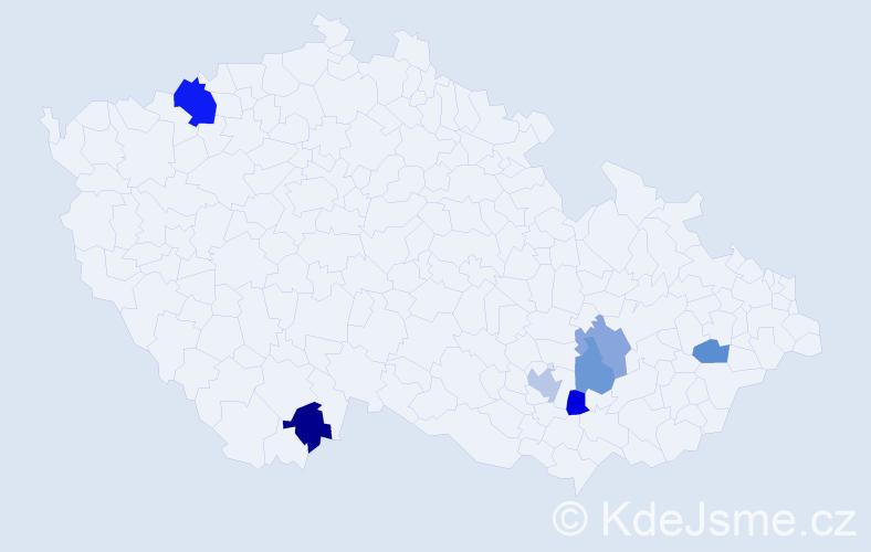 Příjmení: 'Huňadyová', počet výskytů 19 v celé ČR