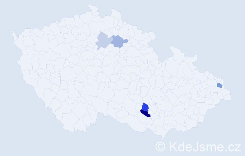Příjmení: 'Ačai', počet výskytů 10 v celé ČR