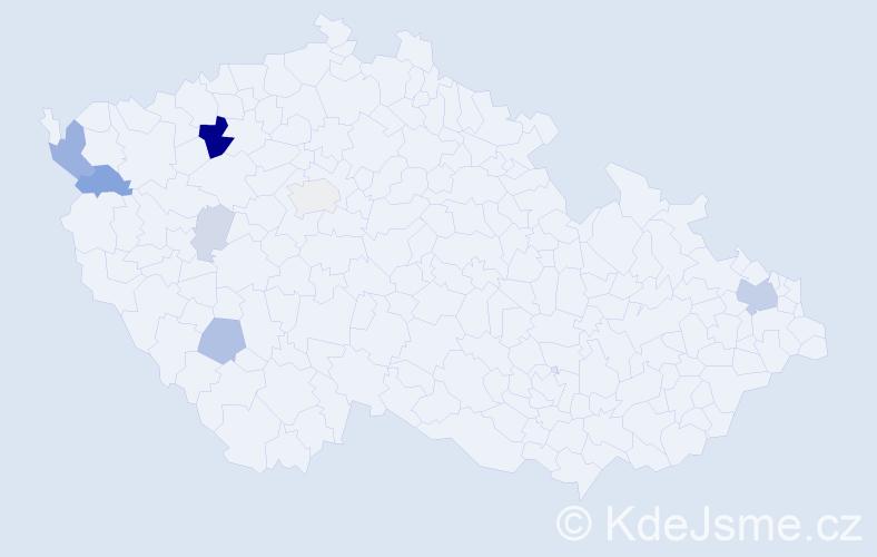Příjmení: 'Harajdová', počet výskytů 25 v celé ČR