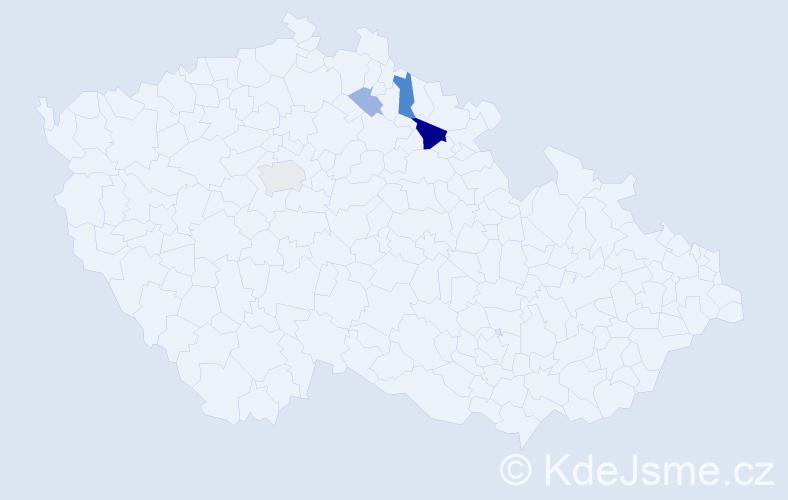 Příjmení: 'Karadžos', počet výskytů 10 v celé ČR