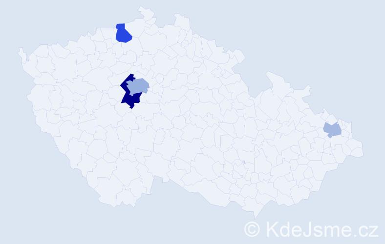 Příjmení: 'Hajnal', počet výskytů 10 v celé ČR