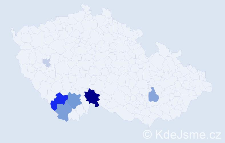 Příjmení: 'Anderl', počet výskytů 12 v celé ČR