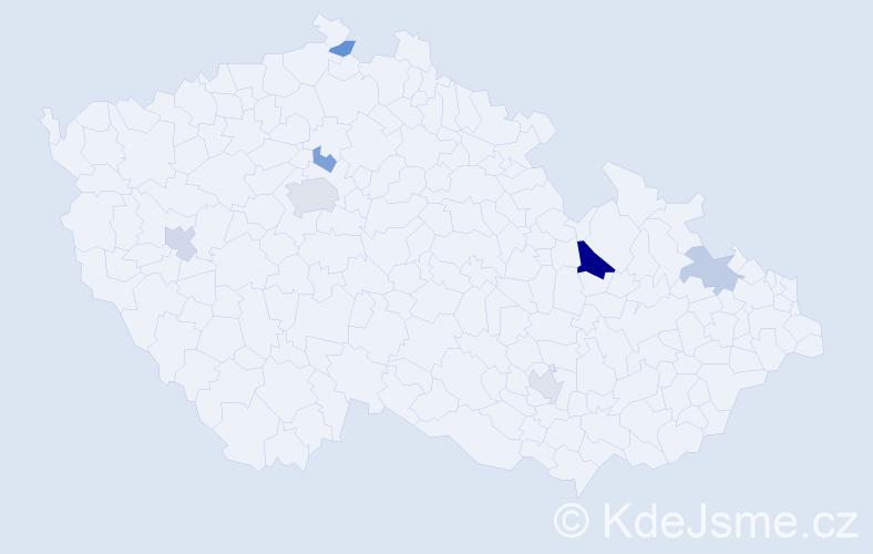 Příjmení: 'Lečko', počet výskytů 12 v celé ČR