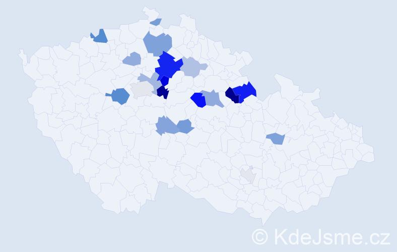 Příjmení: 'Kotera', počet výskytů 52 v celé ČR