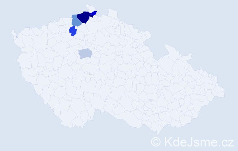 Příjmení: 'Kudrmann', počet výskytů 12 v celé ČR