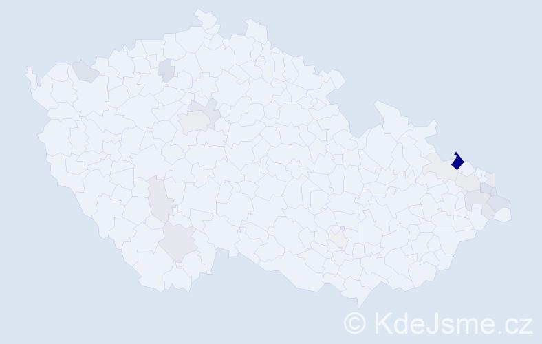 Příjmení: 'Baranek', počet výskytů 44 v celé ČR