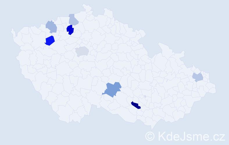 Příjmení: 'Hautová', počet výskytů 14 v celé ČR