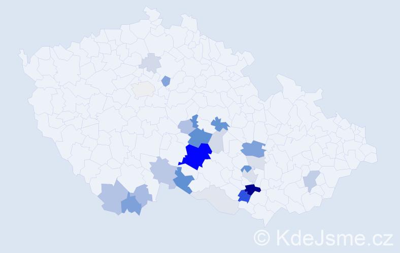 Příjmení: 'Čaloud', počet výskytů 83 v celé ČR