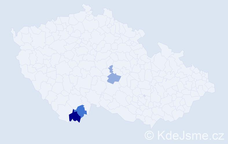 Příjmení: 'Kačúrová', počet výskytů 4 v celé ČR