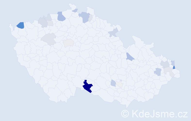 Příjmení: 'Ješko', počet výskytů 56 v celé ČR