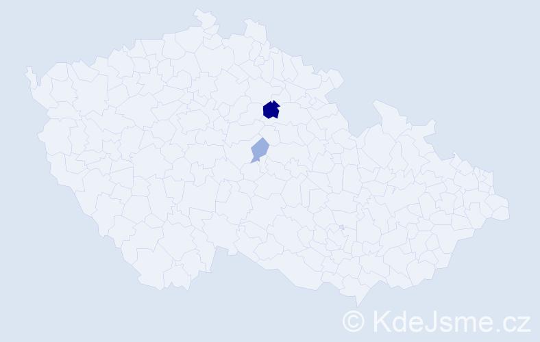 Příjmení: 'Kandoussi', počet výskytů 5 v celé ČR