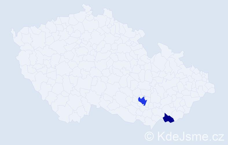 Příjmení: 'Frybort', počet výskytů 5 v celé ČR