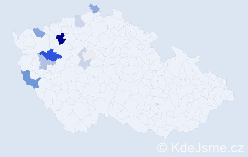 Příjmení: 'Endersová', počet výskytů 14 v celé ČR