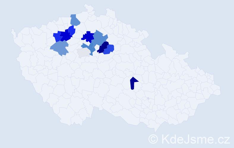 Příjmení: 'Hemiš', počet výskytů 18 v celé ČR