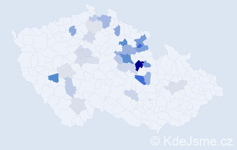 Příjmení: 'Cejpová', počet výskytů 102 v celé ČR