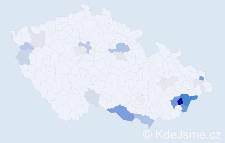 Příjmení: 'Kořének', počet výskytů 72 v celé ČR