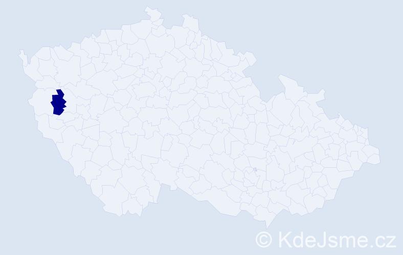 """Příjmení: '""""Edmonds Hessová""""', počet výskytů 1 v celé ČR"""