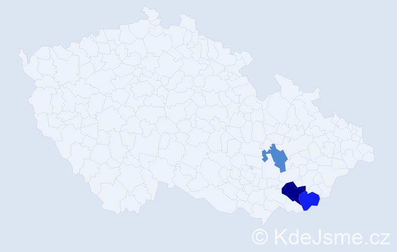 Příjmení: 'Bulejka', počet výskytů 4 v celé ČR