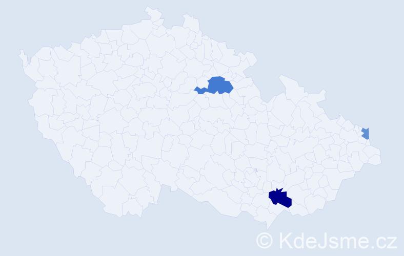Příjmení: 'Babová', počet výskytů 5 v celé ČR
