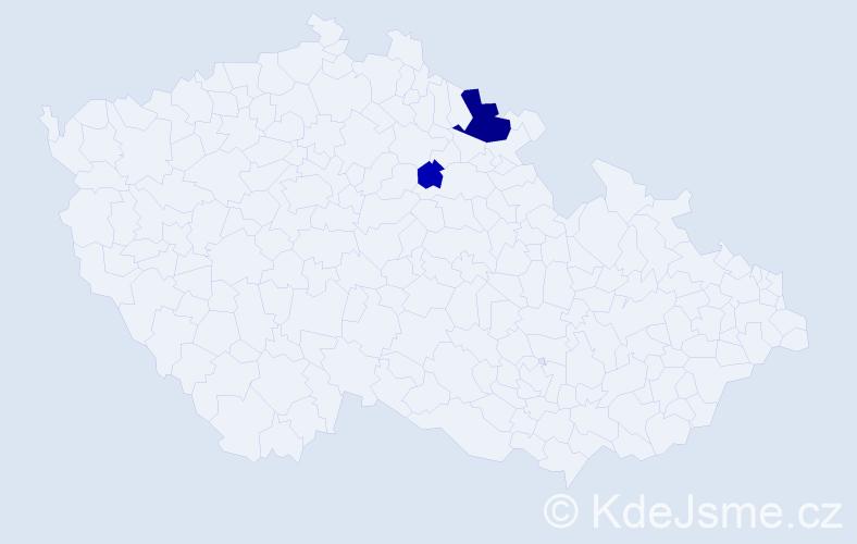 Příjmení: 'Borovski', počet výskytů 5 v celé ČR