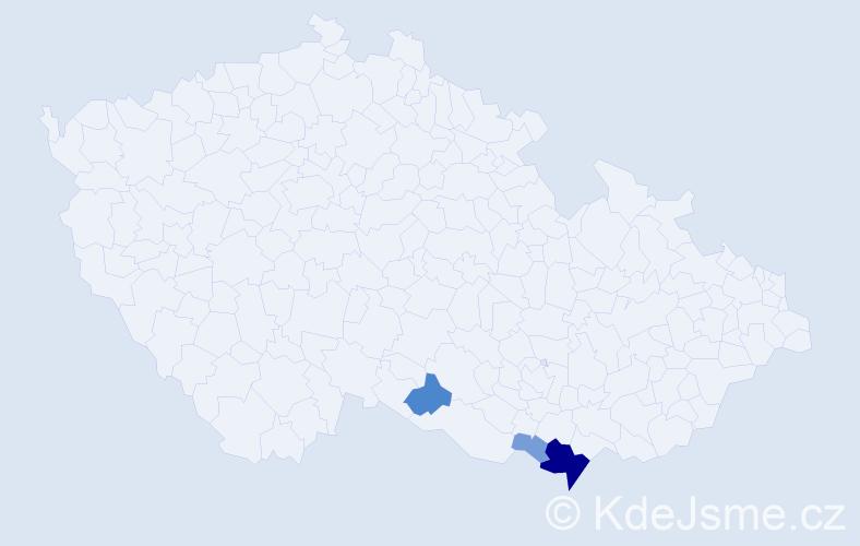 Příjmení: 'Fríb', počet výskytů 13 v celé ČR