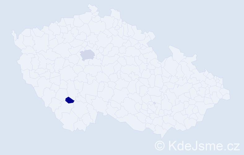 Příjmení: 'Bočínská', počet výskytů 5 v celé ČR