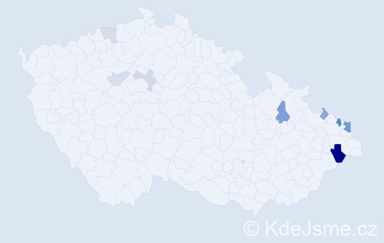 Příjmení: 'Grzonková', počet výskytů 18 v celé ČR