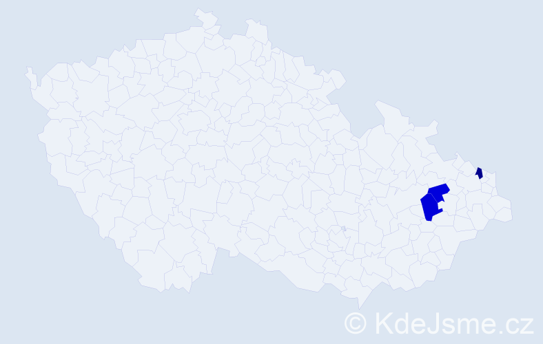 Příjmení: 'Dwornik', počet výskytů 5 v celé ČR