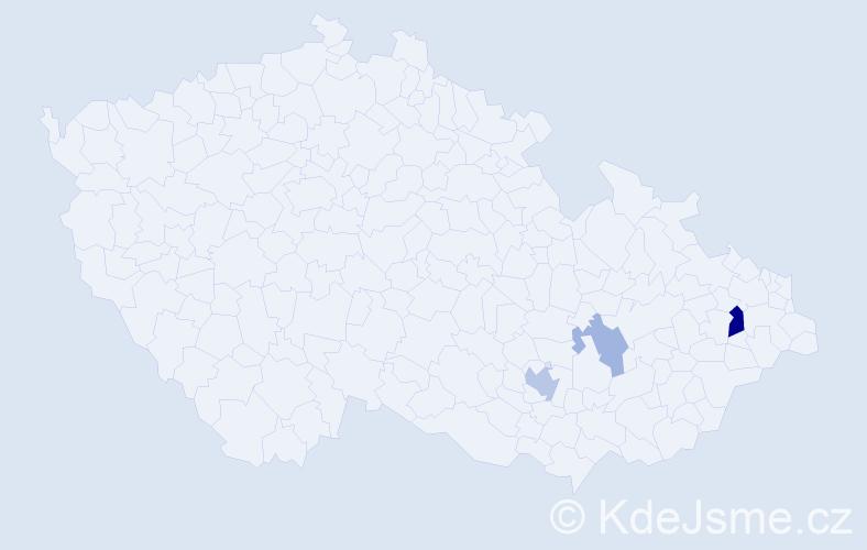 Příjmení: 'Jeníš', počet výskytů 6 v celé ČR