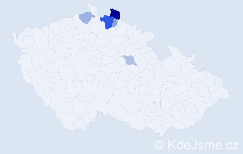Příjmení: 'Dočiar', počet výskytů 10 v celé ČR
