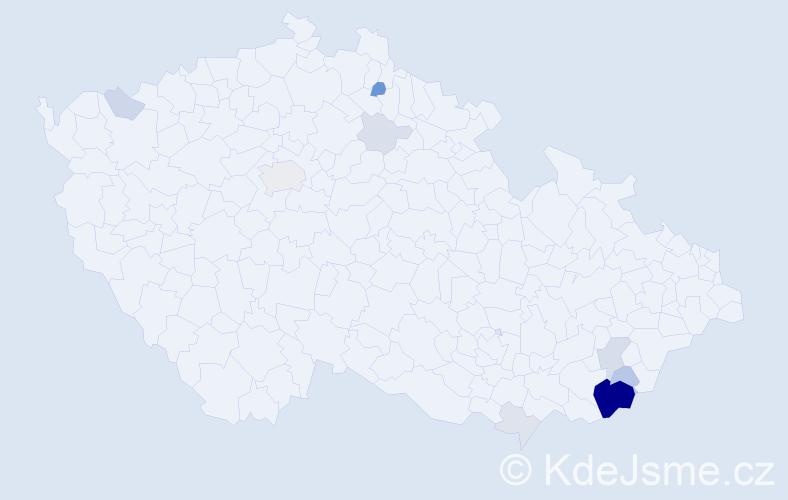 Příjmení: 'Bachůrek', počet výskytů 35 v celé ČR
