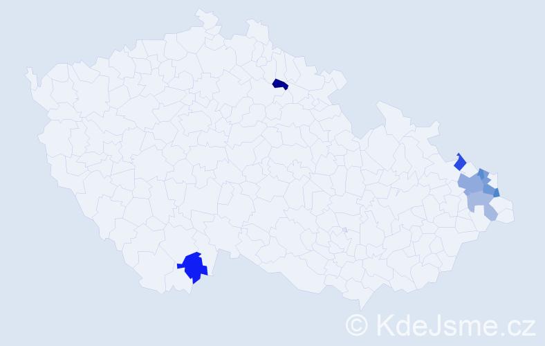 Příjmení: 'Konieczný', počet výskytů 12 v celé ČR
