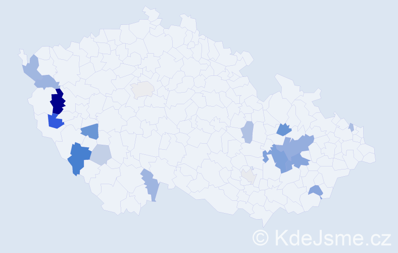 Příjmení: 'Lavrinčíková', počet výskytů 37 v celé ČR