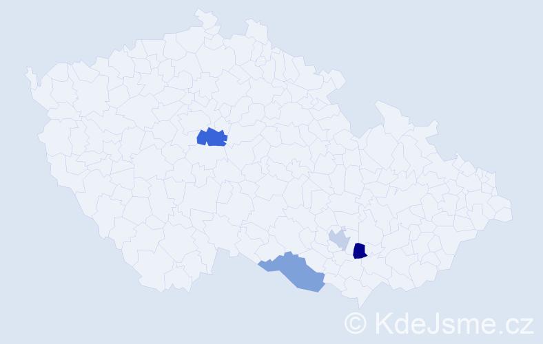 Příjmení: 'Čamrdová', počet výskytů 9 v celé ČR