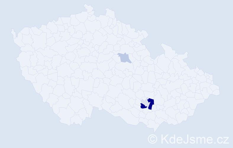 Příjmení: 'Hlučka', počet výskytů 16 v celé ČR